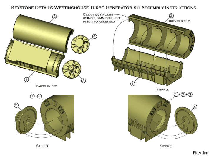 HO!!! Westinghouse Turbo Generator Load for HO PRR 3d printed Assembly Instructions