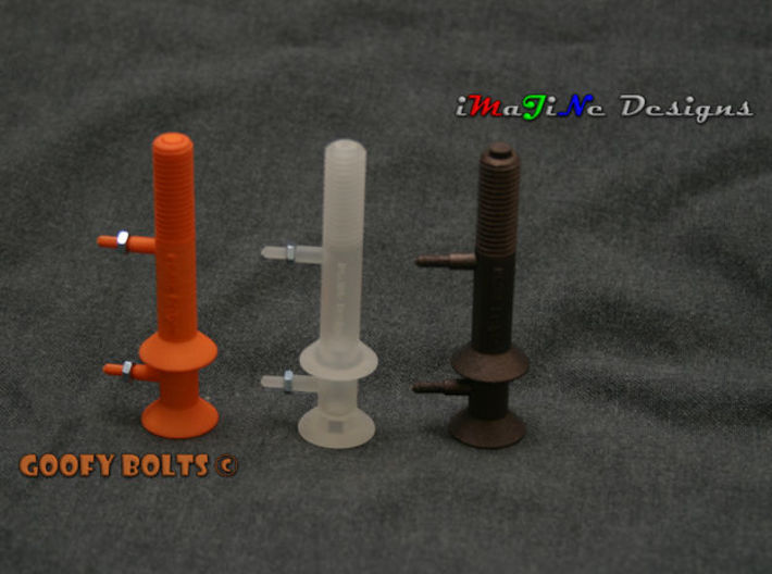 Goofy Bolt-01-Jan-2016 Cutaway 3d printed Prototypes shown with Hole Plugs inserted.  Due to the 3D printing process, the Matte Bronze Steel requires post processing by the customer to allow Hole Plug to fit flush with bolt end.