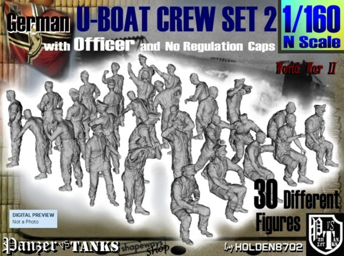 1-160 German U-Boot Crew Set2 3d printed