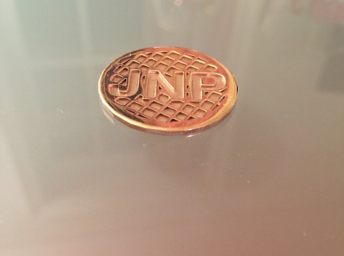 Personalized Golf Ball Marker 3d printed Shines like gold. Heavy enough to stay in place on the green.