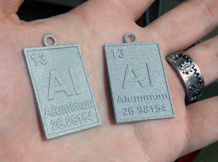 Aluminum Periodic Table Pendant 3d printed The new Raw Aluminum Material and Metallic Plastic.