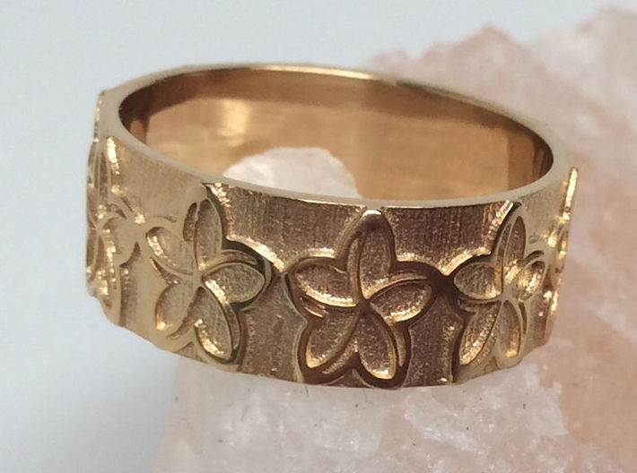 Plumeria Flower Ring Size 8 3d printed Shown in 14k Gold Plated