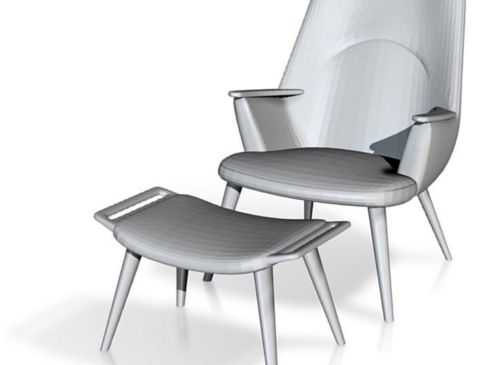1:24 Wegner Lounge Chair Model AP27 w/ Ottoman 3d printed