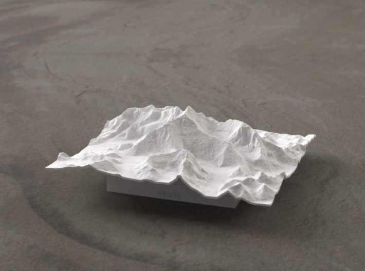 4''/10cm Mt. Everest, China/Tibet, WSF 3d printed Radiance rendering of newer version from the North