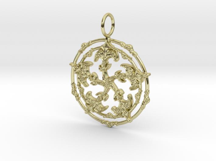 Baroque Fleur de Lys Pentagram pendant 3d printed