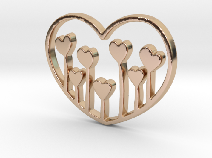 Heart's Garden Pendant - Amour Collection 3d printed