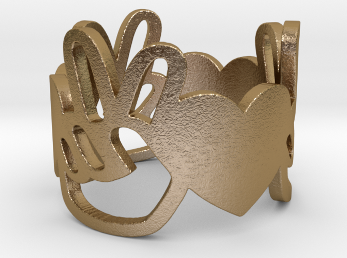 Peace and Love Ring Size 9 3d printed