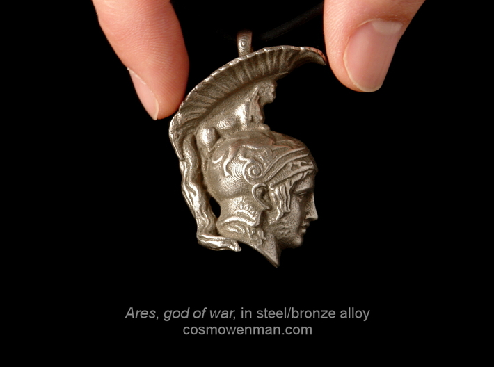 Steel Ares, god of war pendant (profile) 3d printed