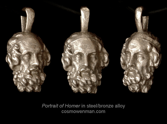 Steel Portrait of the Blind Homer pendant 3d printed