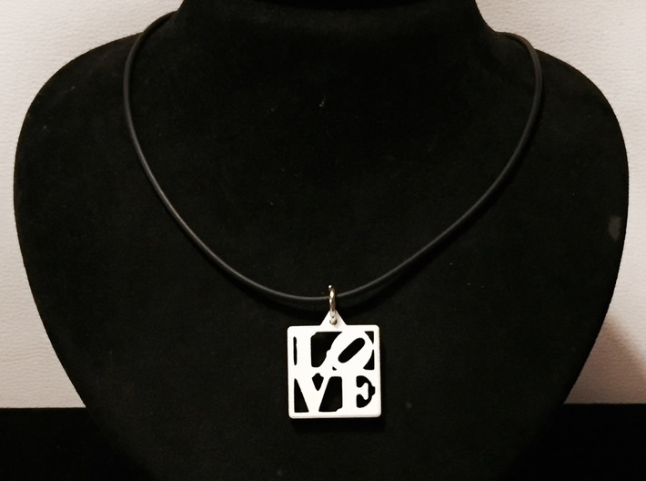 LOVE Pendant ROBERT INDIANA (Thicker Version) 3d printed White Polished Nylon Pendant with Rubber Cord
