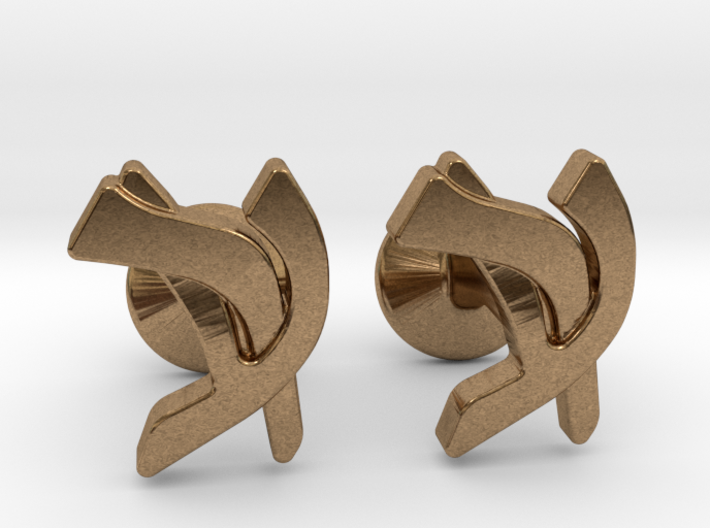 "Hebrew Monogram Cufflinks - ""Ayin Reish"" 3d printed"