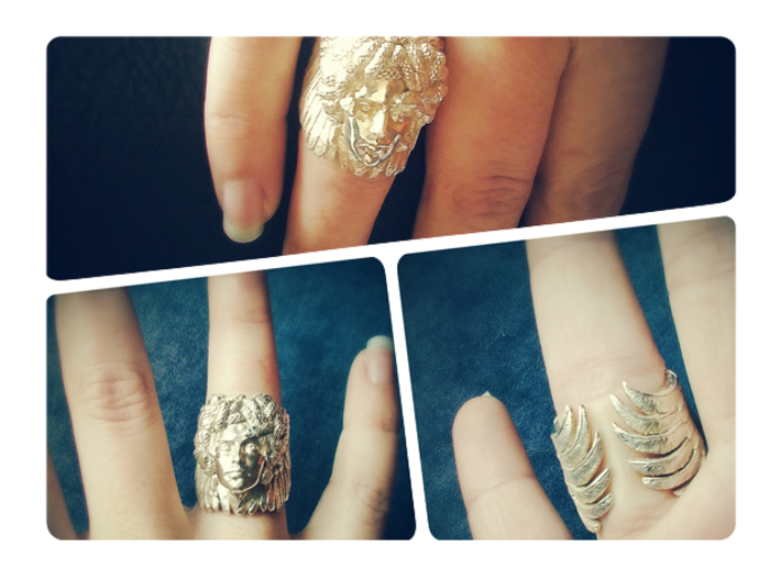 Medusa - Detailed ring 3d printed Polished Silver