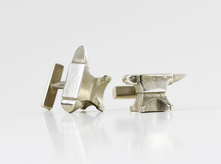 Anvil Cufflinks 3d printed Anvil Cufflinks - Silver Glossy
