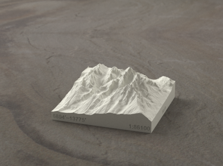 3'' Grand Tetons, Wyoming, USA, Sandstone 3d printed Radiance rendering of model, viewed from the East.