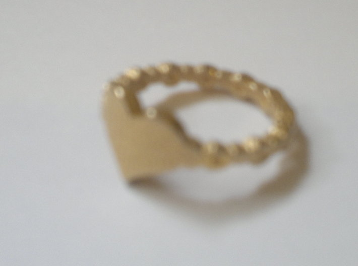 My beautiful heart Ring Size 8 3d printed Glossy gold plated