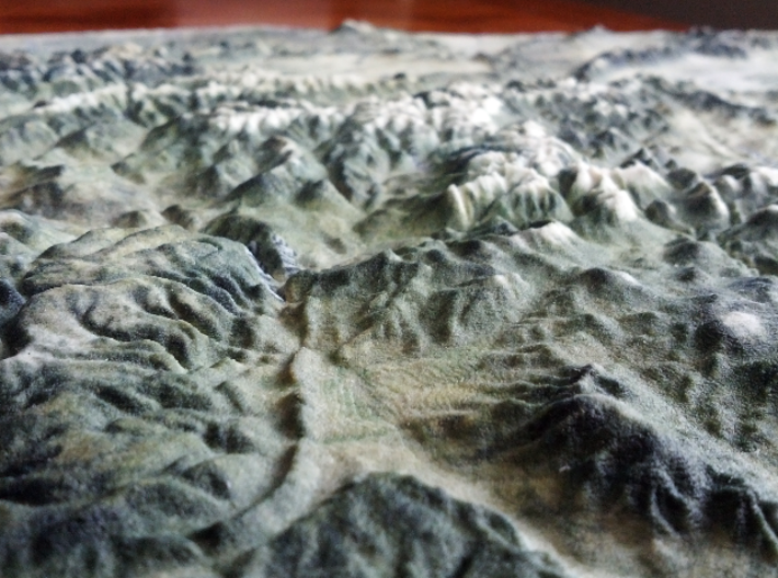 Colorado Fourteeners with holes, 12'' 3d printed Looking East past New Castle, Glenwood Springs, and Carbondale