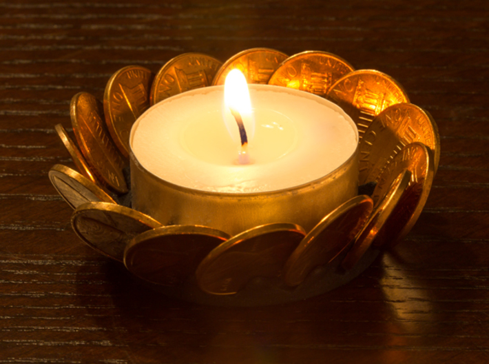 Penny Tea-Light Holder 3d printed Black Strong & Flexible - assembled and with a candle.