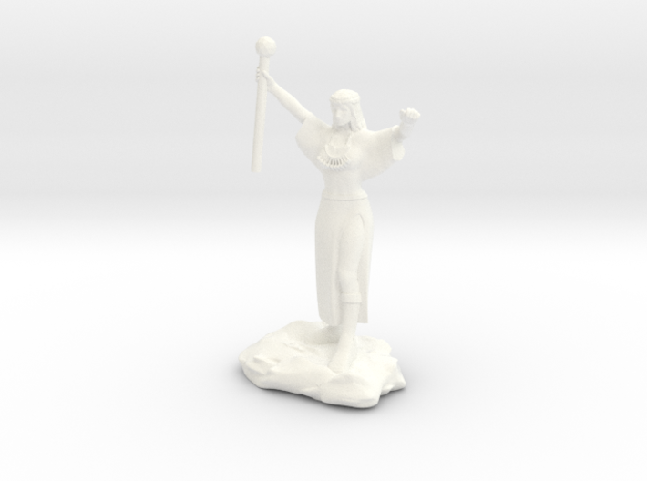 Ceptienne, human mage with staff casting a spell 3d printed