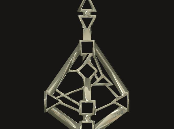 Human-Design 9-Chakra pendant 3d printed Silver rendering