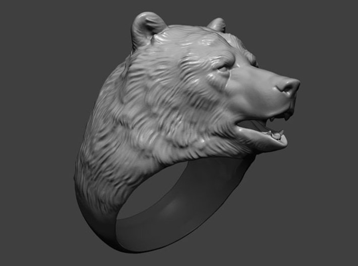 Bear ring 3d printed 3d model displayed here. How your ring will look depends on chosen material