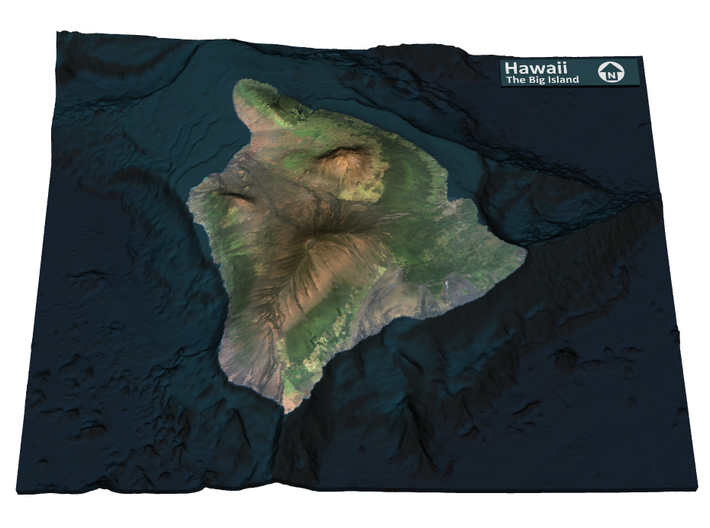The Big Island Map, Hawaii 3d printed