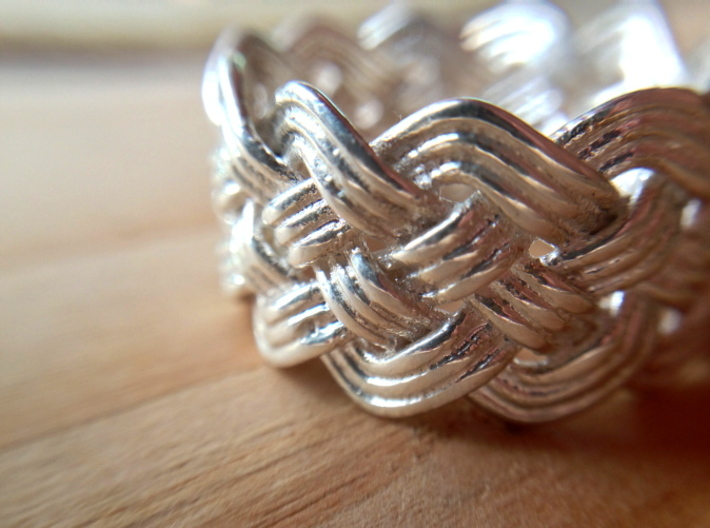 Turk's Head Knot Ring 5 Part X 11 Bight - Size 10 3d printed Glossy Silver