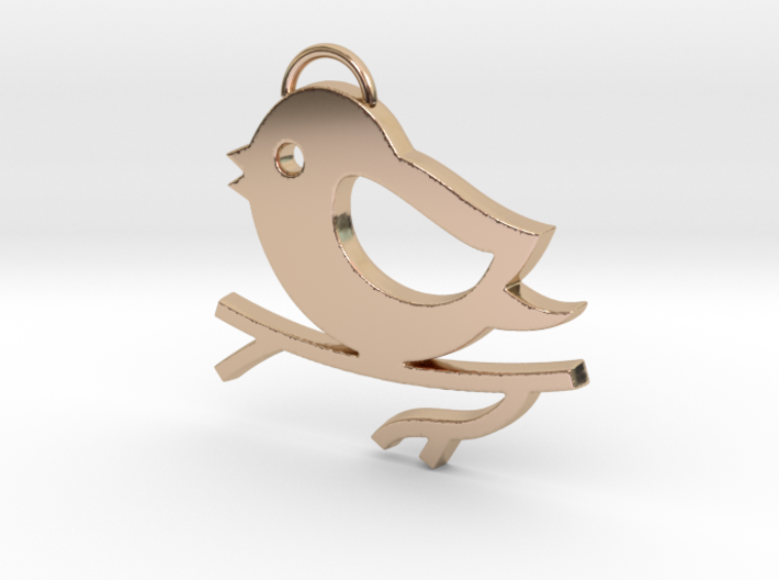 Bird on a Branch Pendant 3d printed