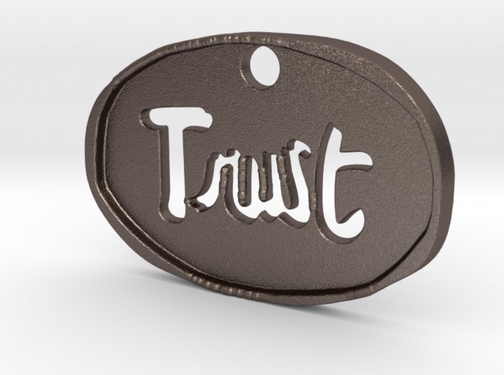 Trust keychain pendant (3mm thick) 3d printed