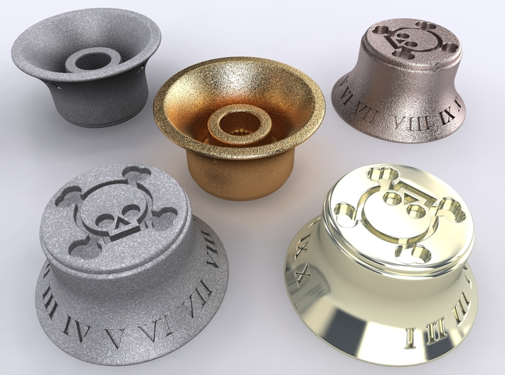 Les Paul Skull knob 3 3d printed Alumide, Premium Silver, Gold Plated Matte & Stainless Steel renders
