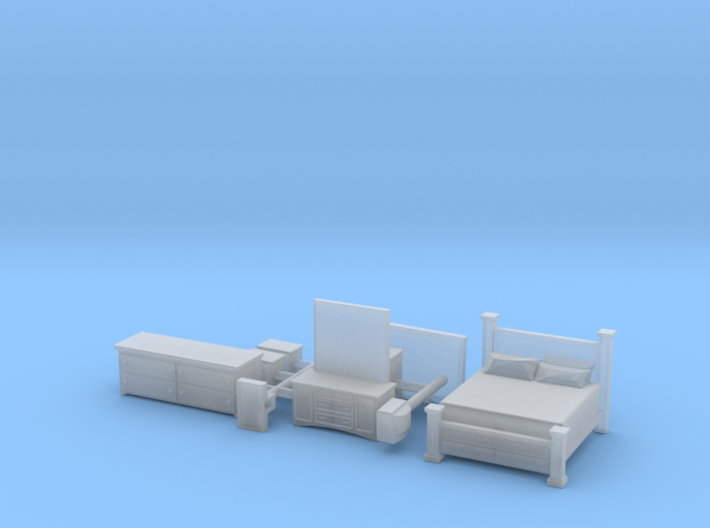 Bedroom set with King Bed N Scale 3d printed