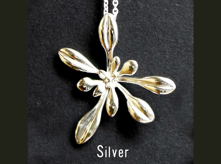 Large Arabidopsis Rosette pendant 3d printed Arabidopsis pendant in polished silver
