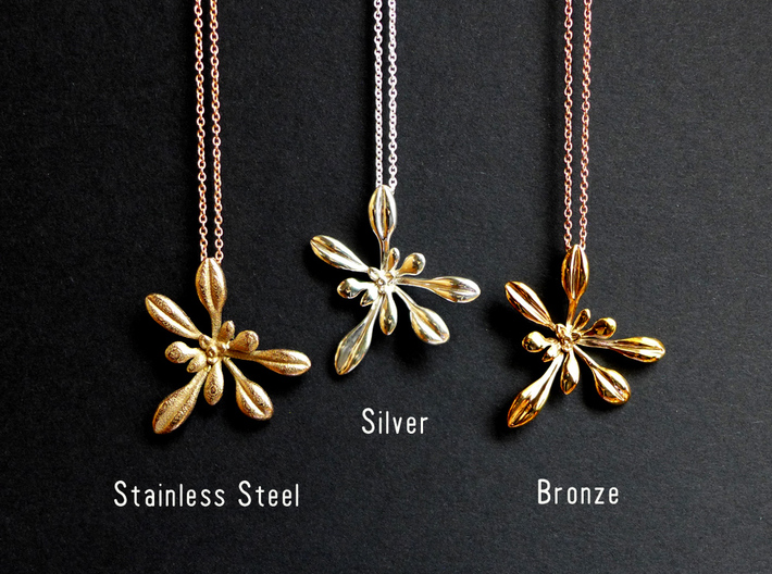 Large Arabidopsis Rosette pendant 3d printed Arabidopsis pendants in steel, silver and bronze