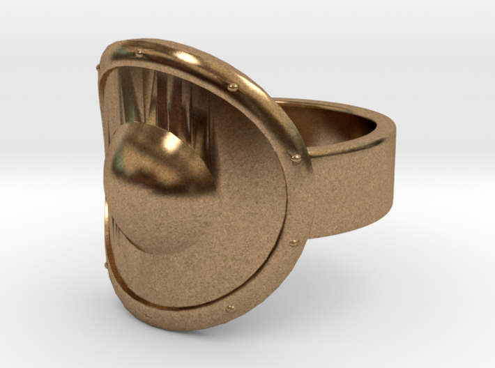 Round Shield Ring - Size 8 3d printed