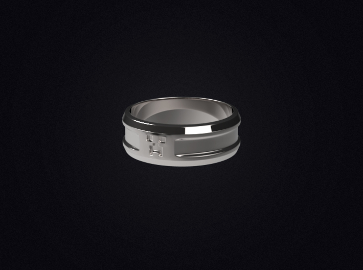 Creeper Band (Size 7 1/2 | 17.7 mm) 3d printed 3D render of the ring in Polished Silver; not a photo.