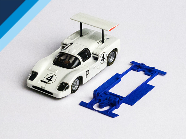 1/32 MRRC Chaparral 2F Chassis for Slot.it pod 3d printed Chassis compatible with MRRC Chaparral 2F body (not included)