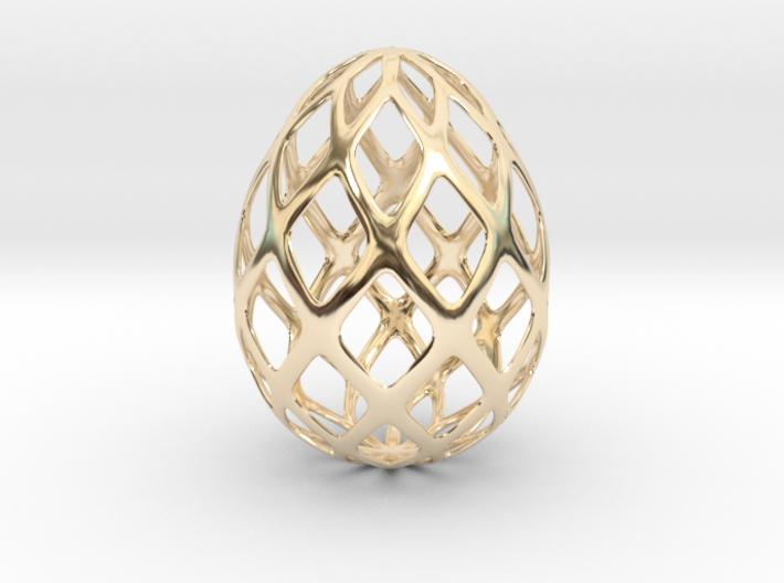 Trellis - Decorative Egg - 2.3 inches 3d printed gold plated egg