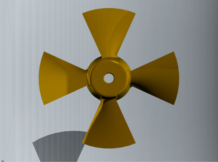 Bowthruster Propeller 36mm (1 pc.) 3d printed Propeller in head-on view.