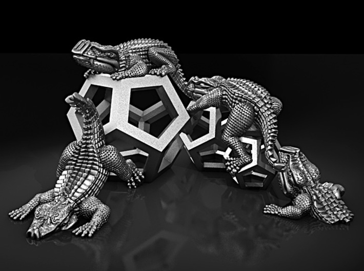 Reptiles & Dodecahedra mini sculpture Fine Art top 3d printed My silver render to show model.