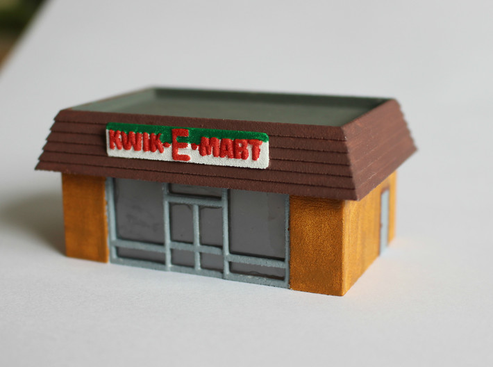 Kwik-E-Mart N Scale 3d printed Painted prototype with windows made from antistatic bag plastic