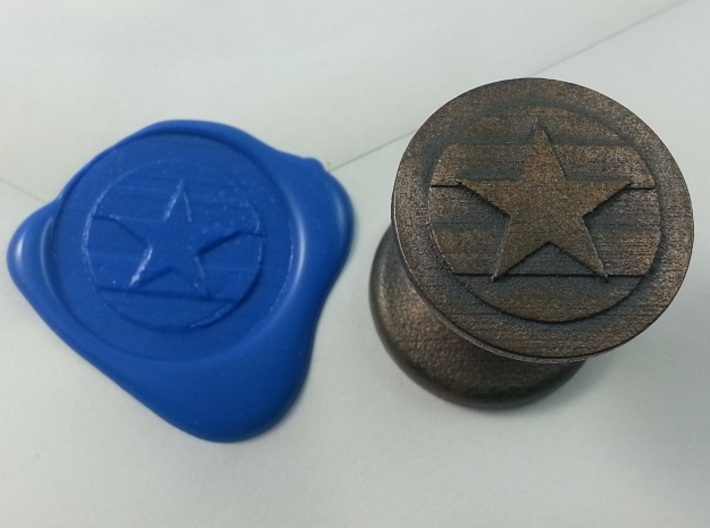 Star With Stripes Seal 3d printed Star with Stripe Seal in Polished Grey Steel