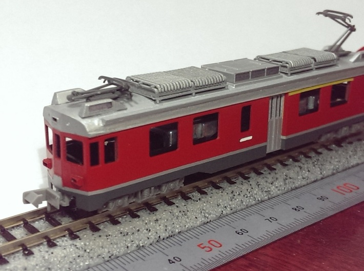 N scale Electoric car ABe4/4 54 3d printed Assembly sample