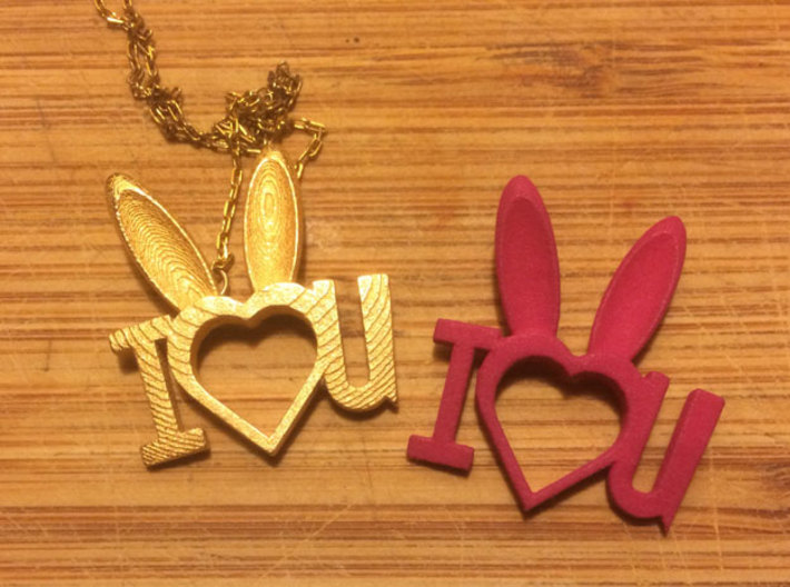 I Heart You Bunny pendant 3d printed in steel or plastic, they're fun on a necklace or a backpack