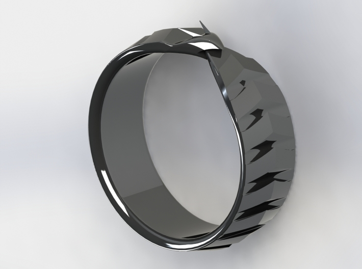 Ouroboros Signet Ring 3d printed Silver 2