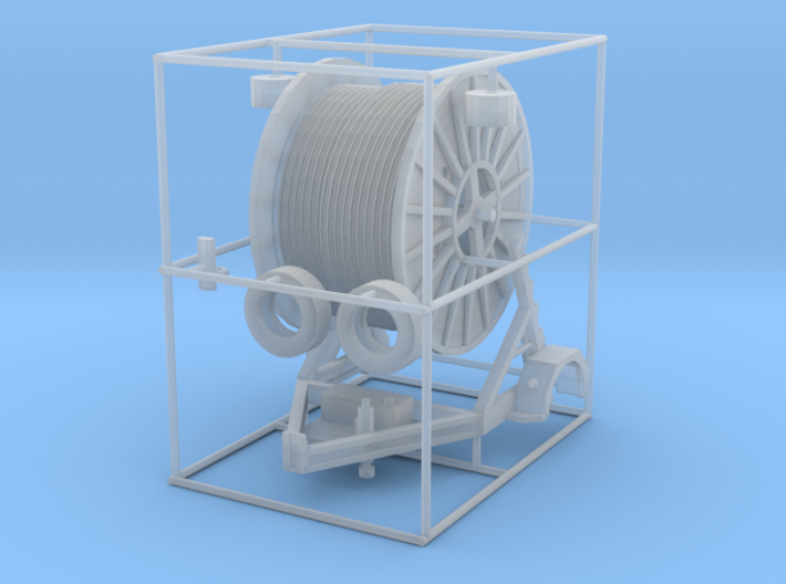 1/64th Cable Reel Spool Trailer 3d printed