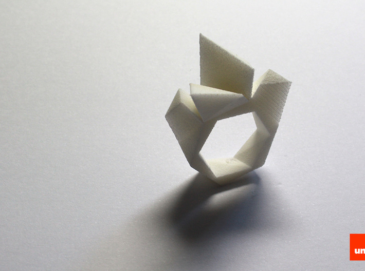 Twist-ring-mutation (medium) 3d printed In White Strong & Flexible