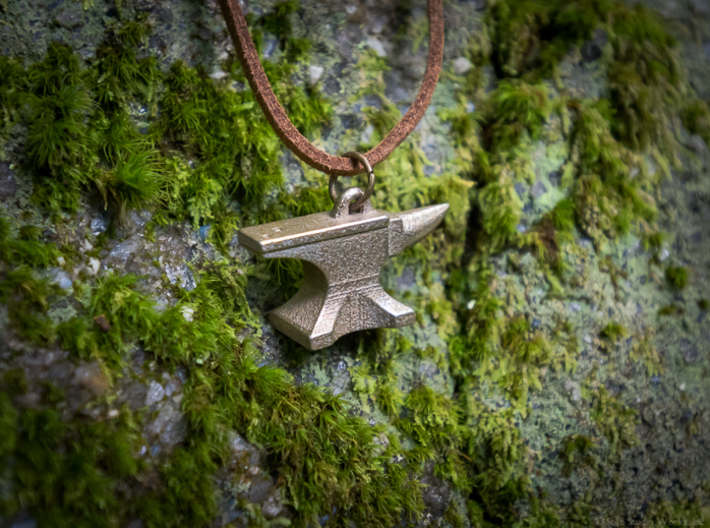 Anvil Pendant - Original Design 3d printed Polished Nickel Steel