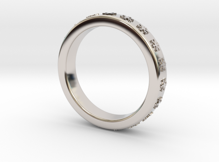 Ring With Snowflake Motif Ø18 mm/0.708 inch 3d printed