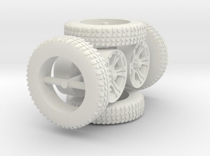 1/64 scale BFG tires and custom wheels 4x 3d printed