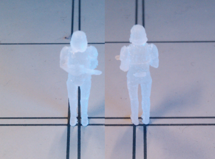 Stormtrooper in position of Attention 3d printed Mk I in Frosted detail (for memory)