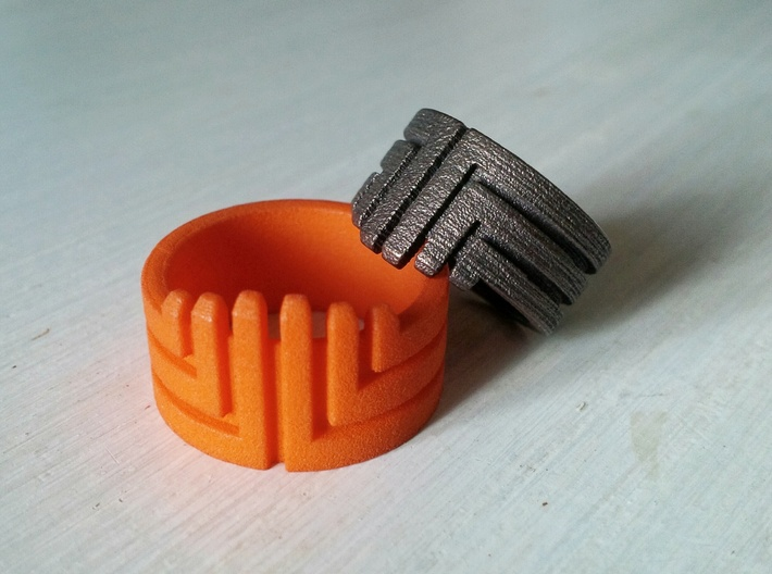 MEDUSA Original Design Ring [Multiple Sizes] 3d printed Orange Strong and Flexible Polished | Matte Bronze Steel